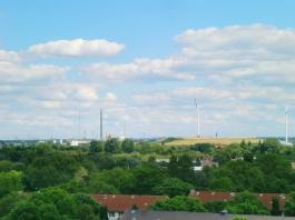 Blick vom Energiebunker auf Wilhelmsburg