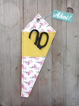 Scheren Etui Flamingo pink gelb 2