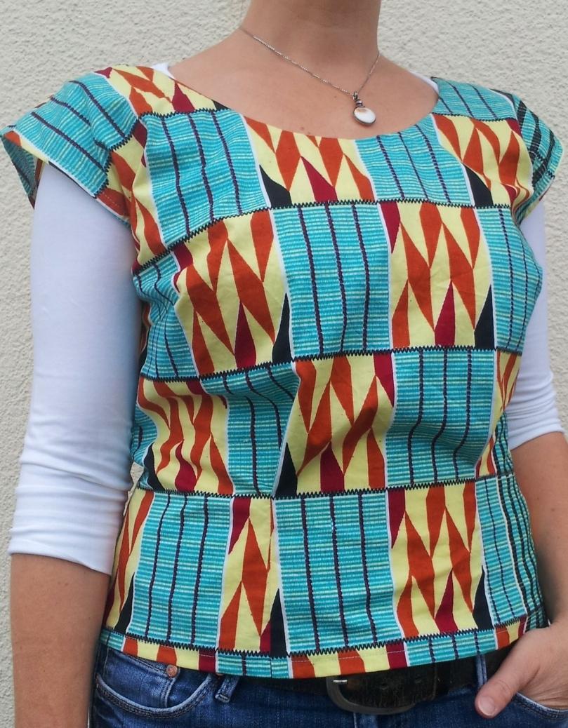 Shirtbluse Gretchen Hirsch aus Baumwolle mit ghanaischem Print