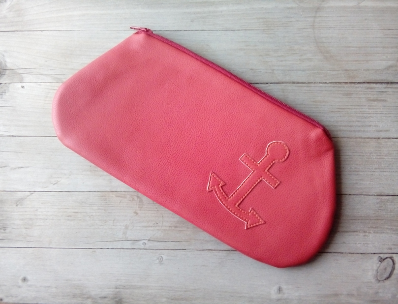 Kostmetiktasche rot, Anker, Vintage