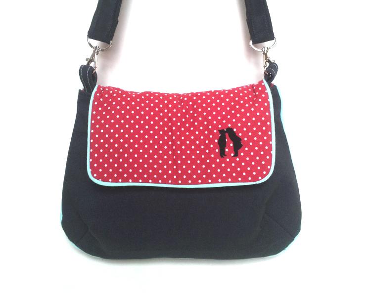 Handtasche schwarz, Polka Dots, gepunktet