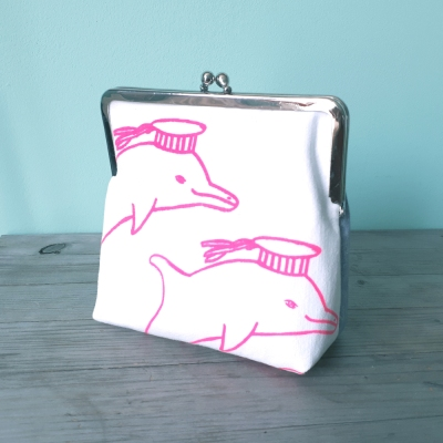 Clipbörse Delfin pink neon Siebdruck